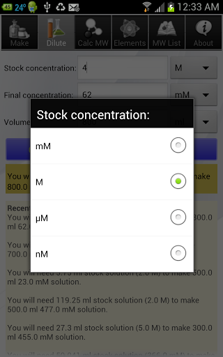 Solution Calculator Lite screenshot