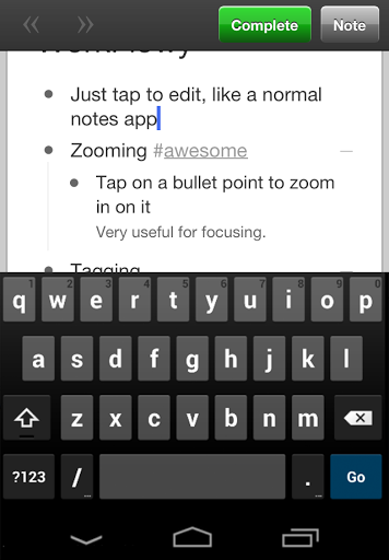 WorkFlowy screenshot