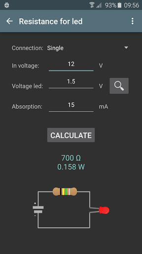 Electrical calculations screenshot