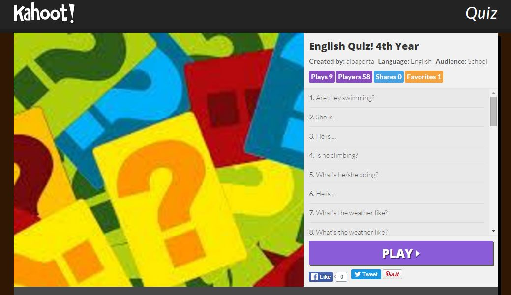 Learning English with kahoot